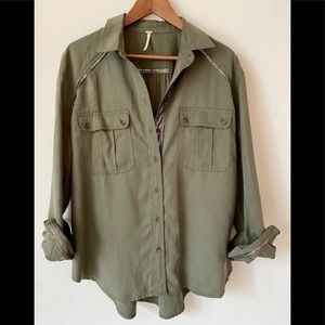 Free People Army Green Button Up Long Sleeve Top
